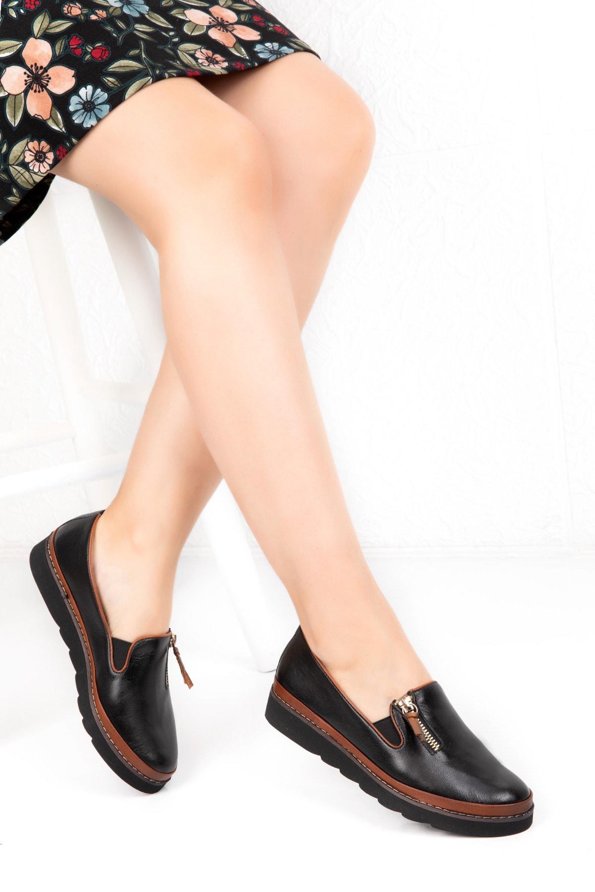Deripotin Kadın Siyah Hakiki Deri Anatomik Taban Günlük Ayakkabı 1