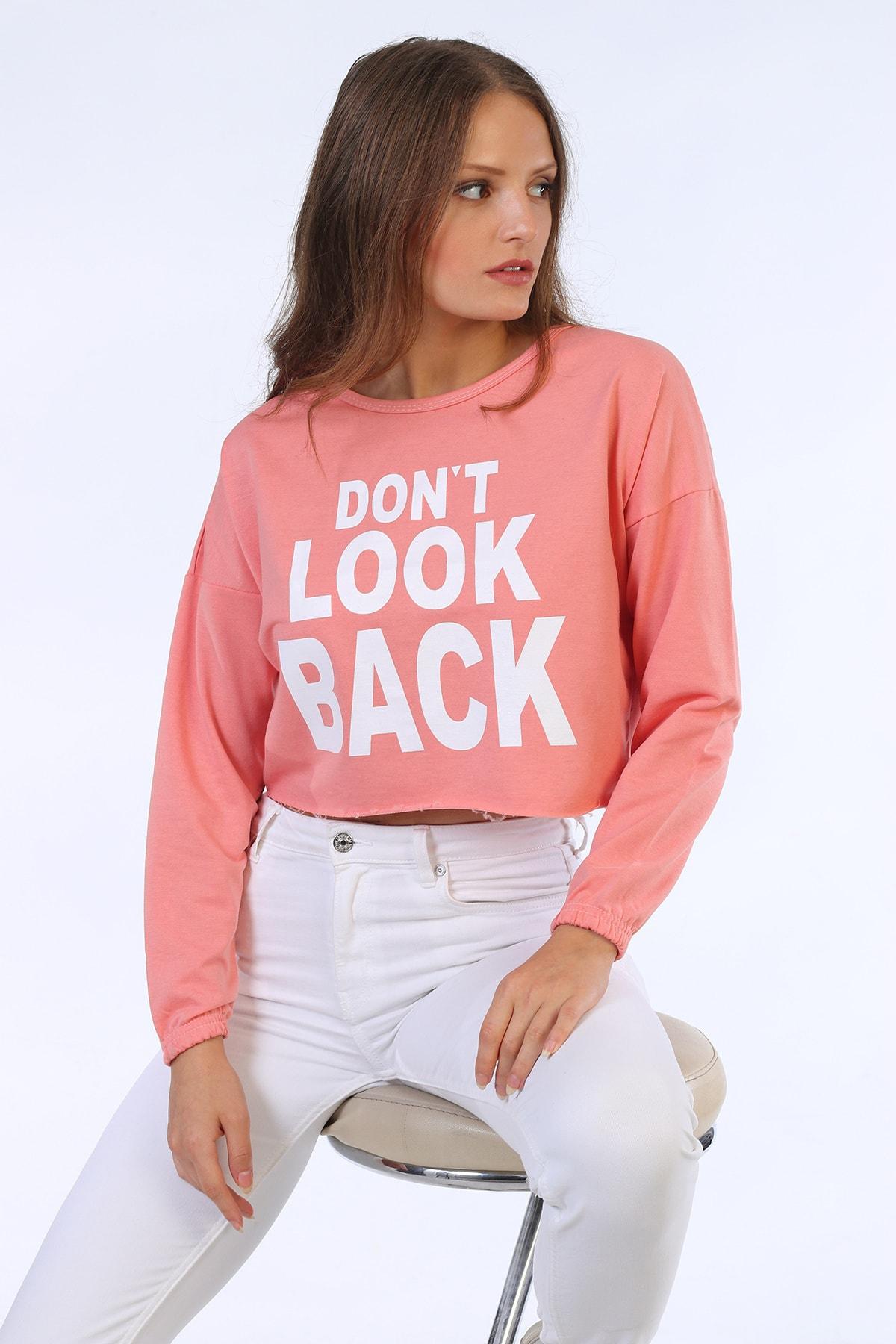 Be Happy Woman Kadın Gül Kurusu Baskılı Crop Sweatshirt 2