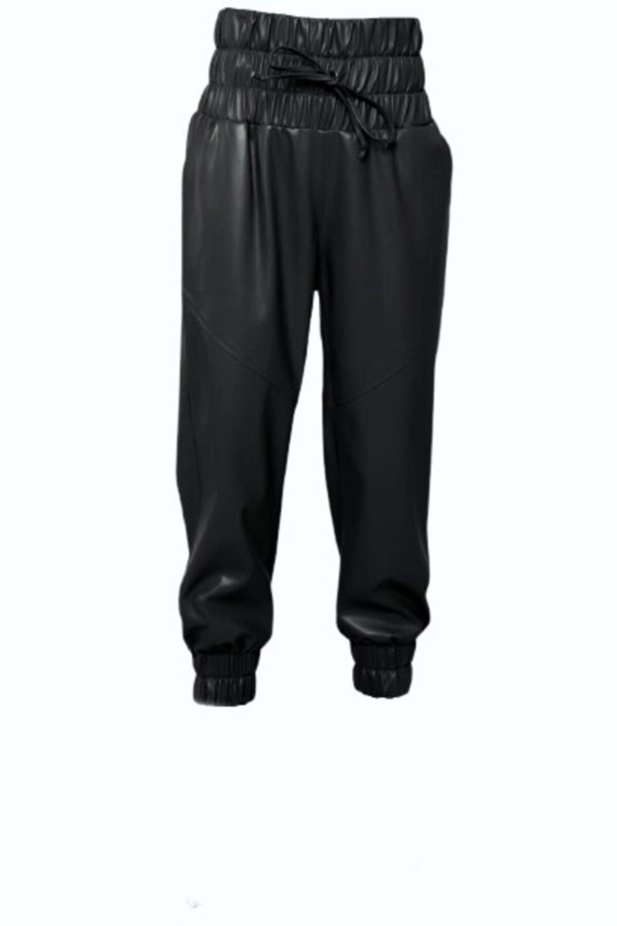 BSL Kadın Siyah Kemer Lastik Detaylı Suni Deri Pantolon 1