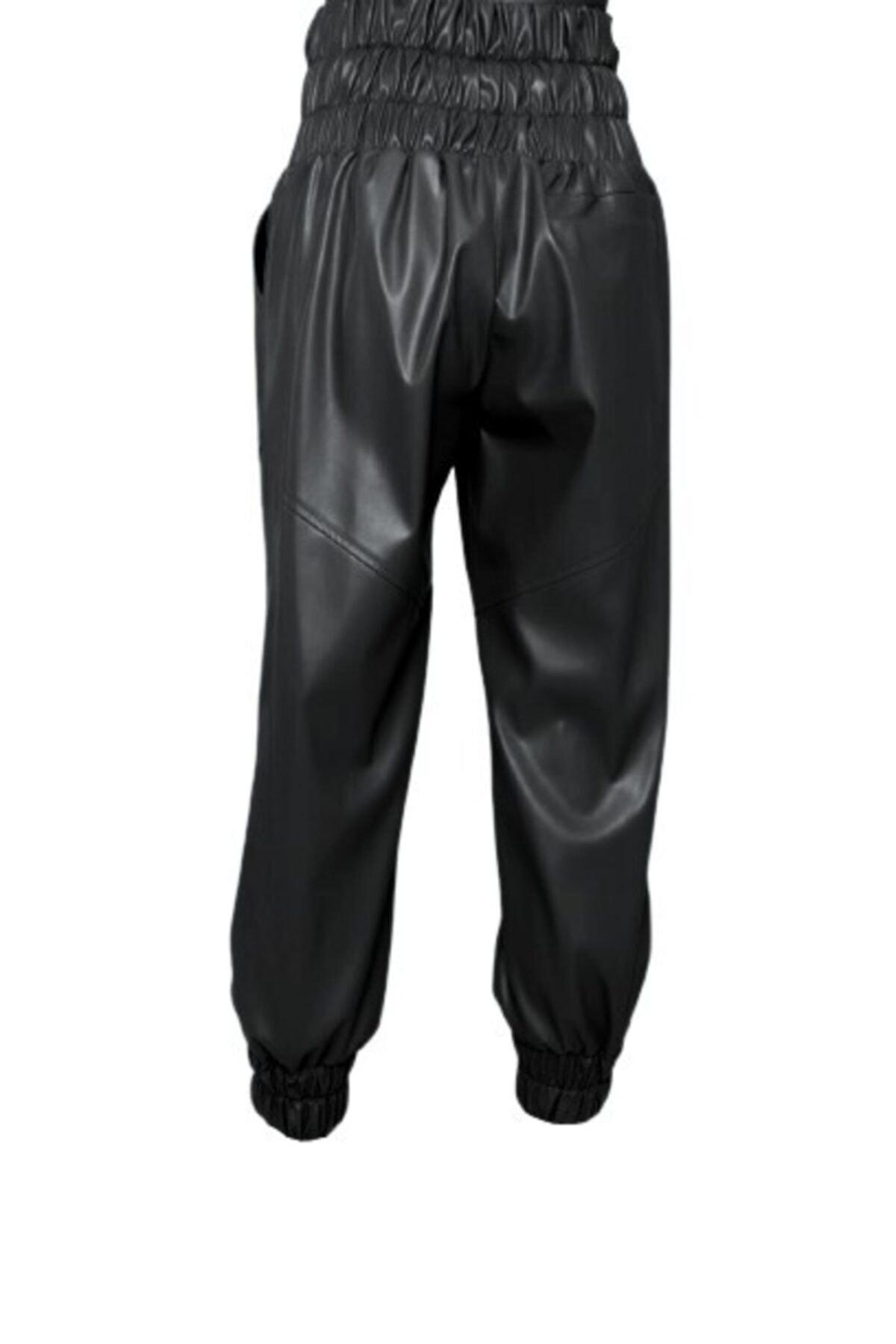 BSL Kadın Siyah Kemer Lastik Detaylı Suni Deri Pantolon 2