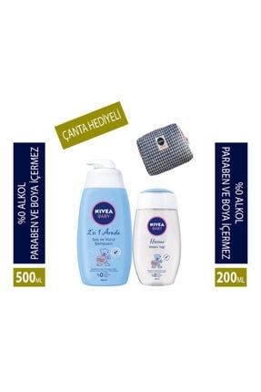 Nivea Saç Ve Vücut Şampuanı Bebek 500 Ml + Bebek Yağı 200 Ml + Bakım Çantası