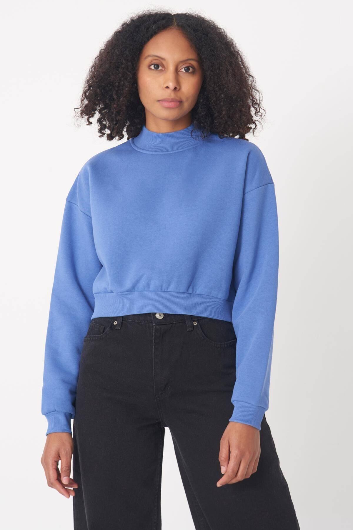 Addax Kadın Mavi Yarım Balıkçı Yaka Kısa  Sweatshirt S8625 - B9 ADX-0000020605 2