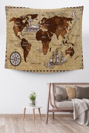 Hediyeler Kapında Dünya Haritası Duvar Örtüsü 75x75