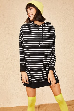 Bianco Lucci Kadın Kapüşonlu Oversize Şeritli Sweatshirt
