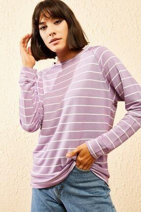 Bianco Lucci Kadın Şeritli Oversize Sweatshirt