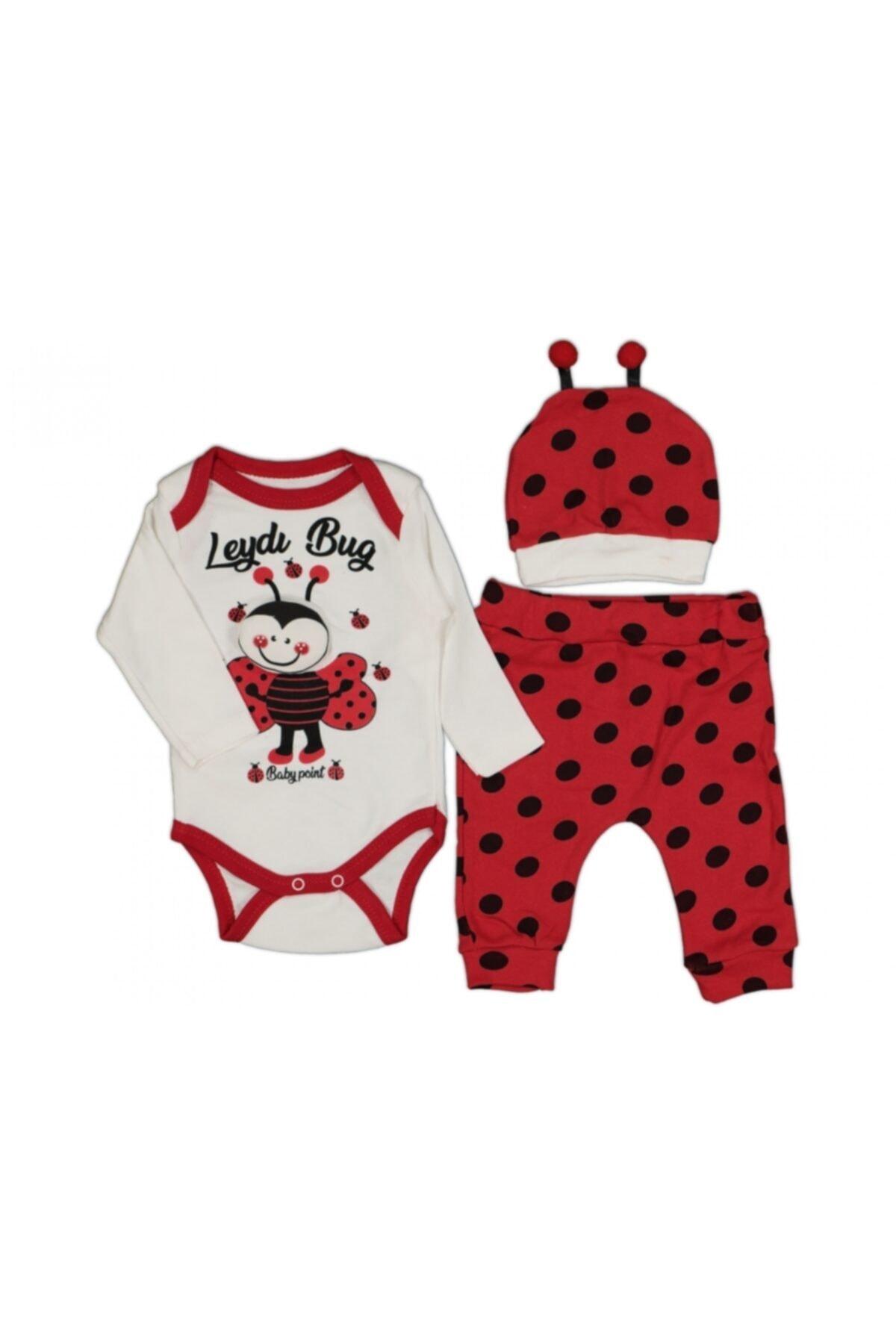 Baby Point Unisex Bebek Kırmızı Uğur Böceği Baskılı Badili Takım 1