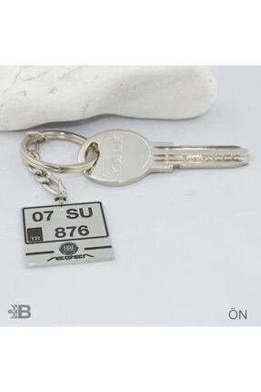 PR Kare Fiat Plaka Çelik Anahtarlık