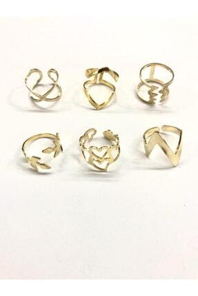 AKTUEL 6 Adet Sarı Renk Eklem Yüzüğü