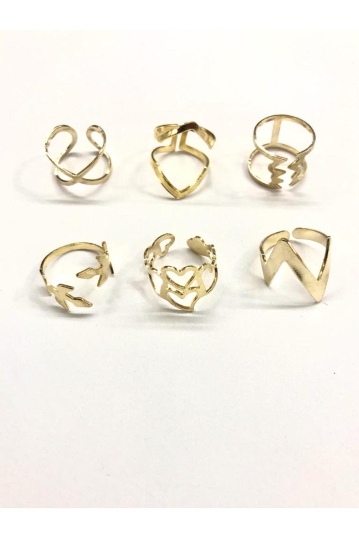 AKTUEL 6 Adet Sarı Renk Eklem Yüzüğü 1