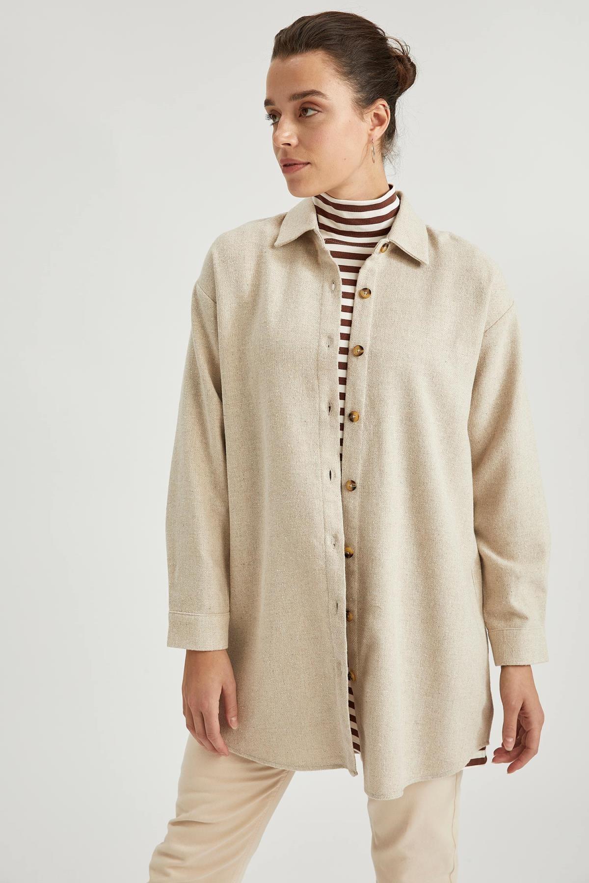 DeFacto Kadın Ekru Oversize Tunik Gömlek