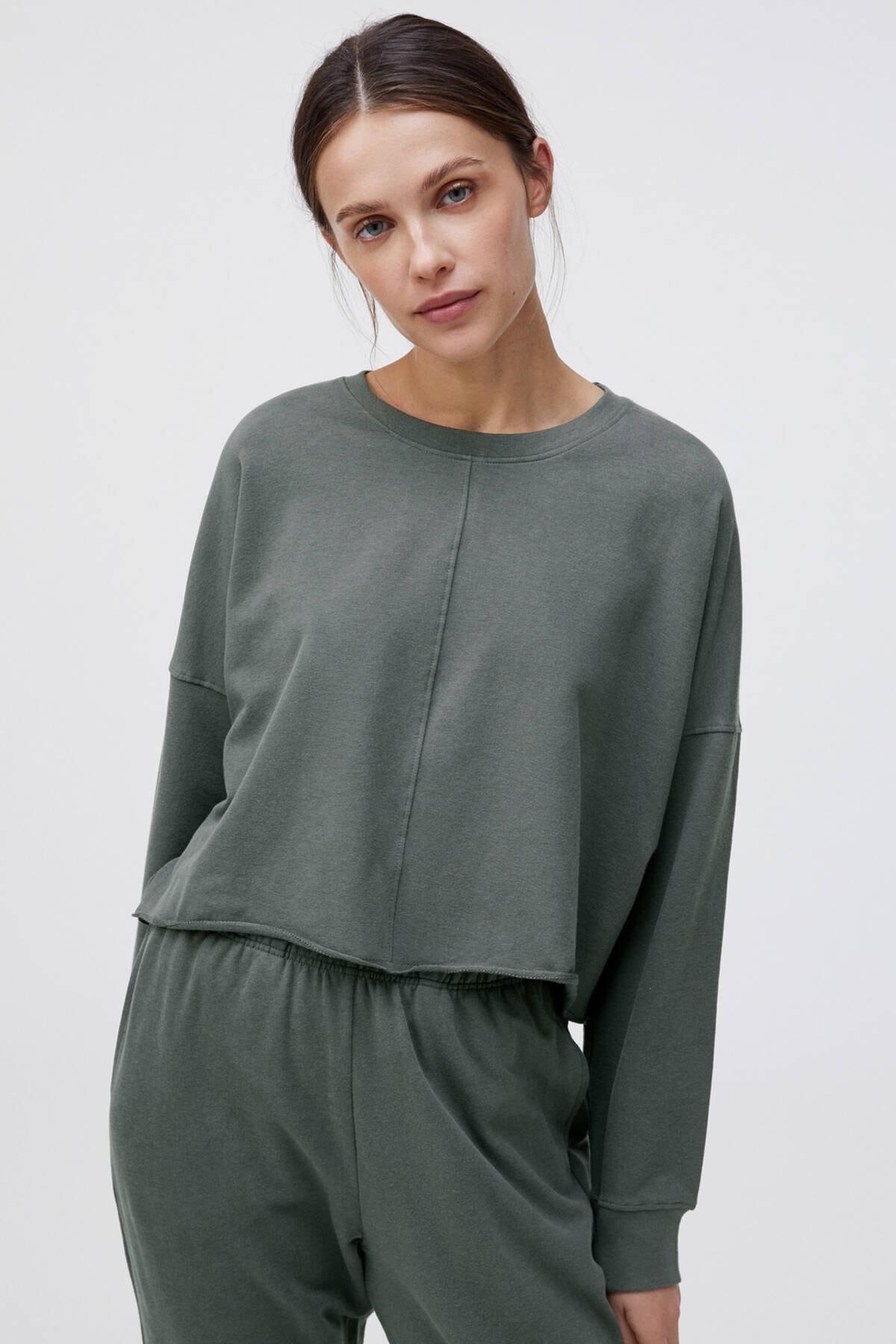 Oysho Kadın Bej Crop Sweatshirt