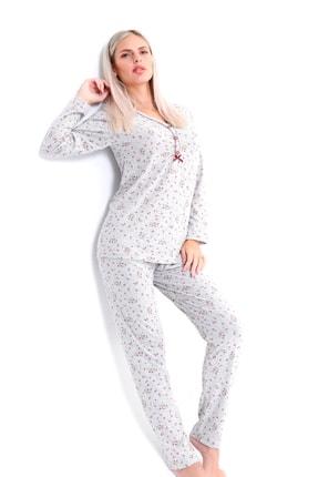 Pijama Denizi Dört Mevsimlik Düğmeli Pijama Takımı Bordo Çiçek Desen Gri Pamuk