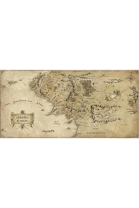 Hobimania Kanvas Tablo Orta Dünya Haritası Middle Earth Yüzüklerin Efendisi 70x140 Cm Duvar Dekorasyon Tablo