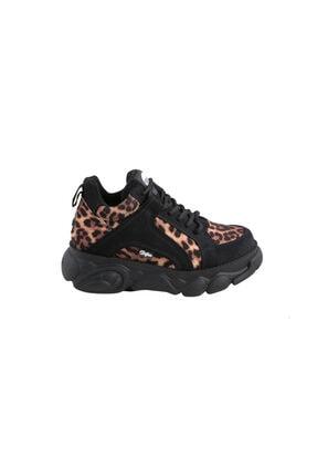Buffalo Kadın Siyah Leopar Desenli Ayakkabı Bn16301711