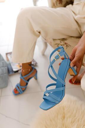 Limoya Kadın Bebe Mavi Çapraz Bantlı Köşeli Burun Sandalet