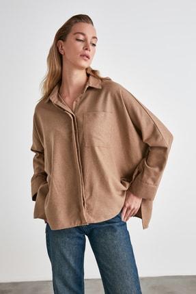 TRENDYOLMİLLA Vizon Cep Detaylı Gömlek TWOAW21GO0351