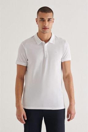 Avva Erkek Beyaz Polo Yaka Düz T-shirt A11b1146
