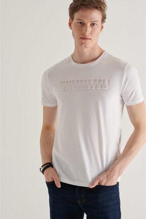 Avva Erkek Beyaz Bisiklet Yaka Gofre Baskılı T-shirt A11y1063