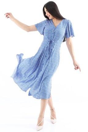 Arlin Kadın Kısa Kollu Önden Düğmeli Saks Elbise