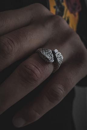 aksesuargo Erkek Çift Başlı Yılan Figürlü Ayarlanabilir Gümüş Kaplama Yüzük