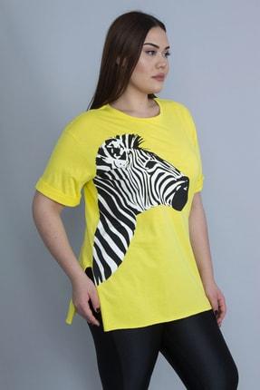 Şans Kadın Sarı Zebra Baskılı Viskon Bluz 65N23135