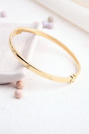 Rachel Silver Elişi Üretim Vidalı Model Gold Renk Kelepçe Gümüş Bilezik