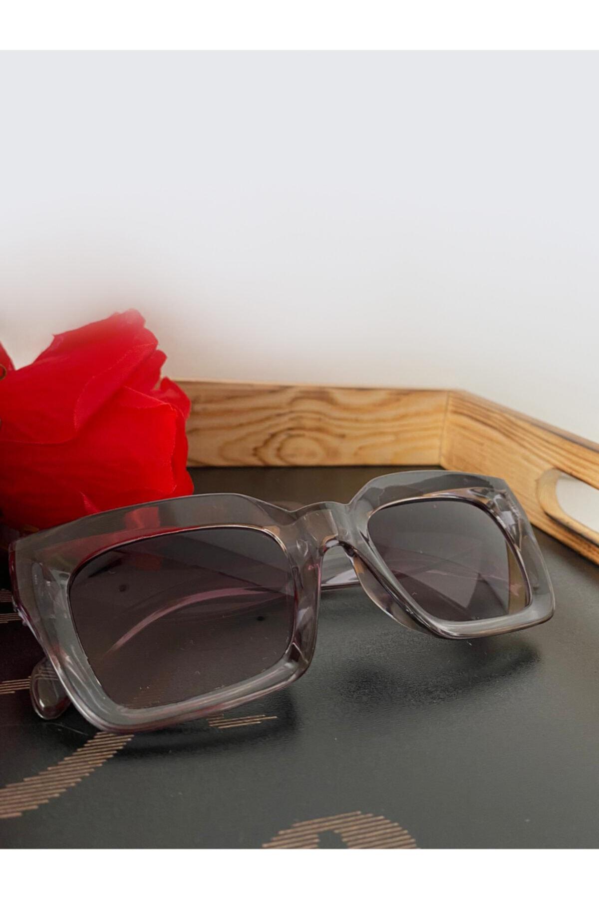 Mathilda Aksesuar Mia Kalın Çerçeveli Tasarım Gözlük Füme Çerçeve Kahve Cam 1