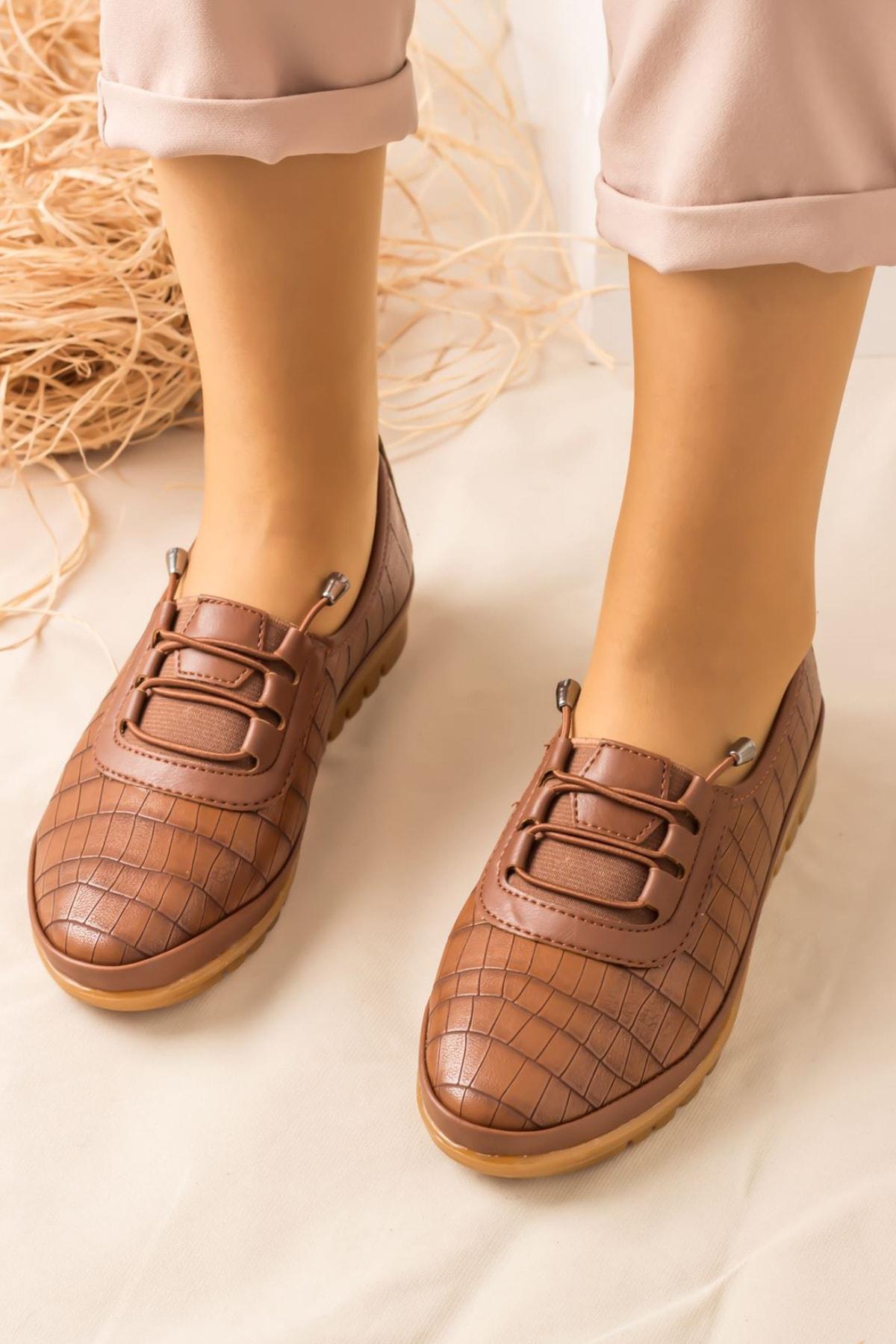 Lal Shoes & Bags Arica Kroko Ortopedik Rahat Kadın Ayakkabı-taba 2