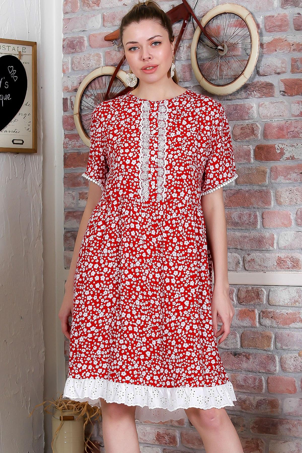 Chiccy Kadın Kırmızı Çıtır Çiçek Desenli Dantel Detaylı Dokuma Elbise M10160000EL95388