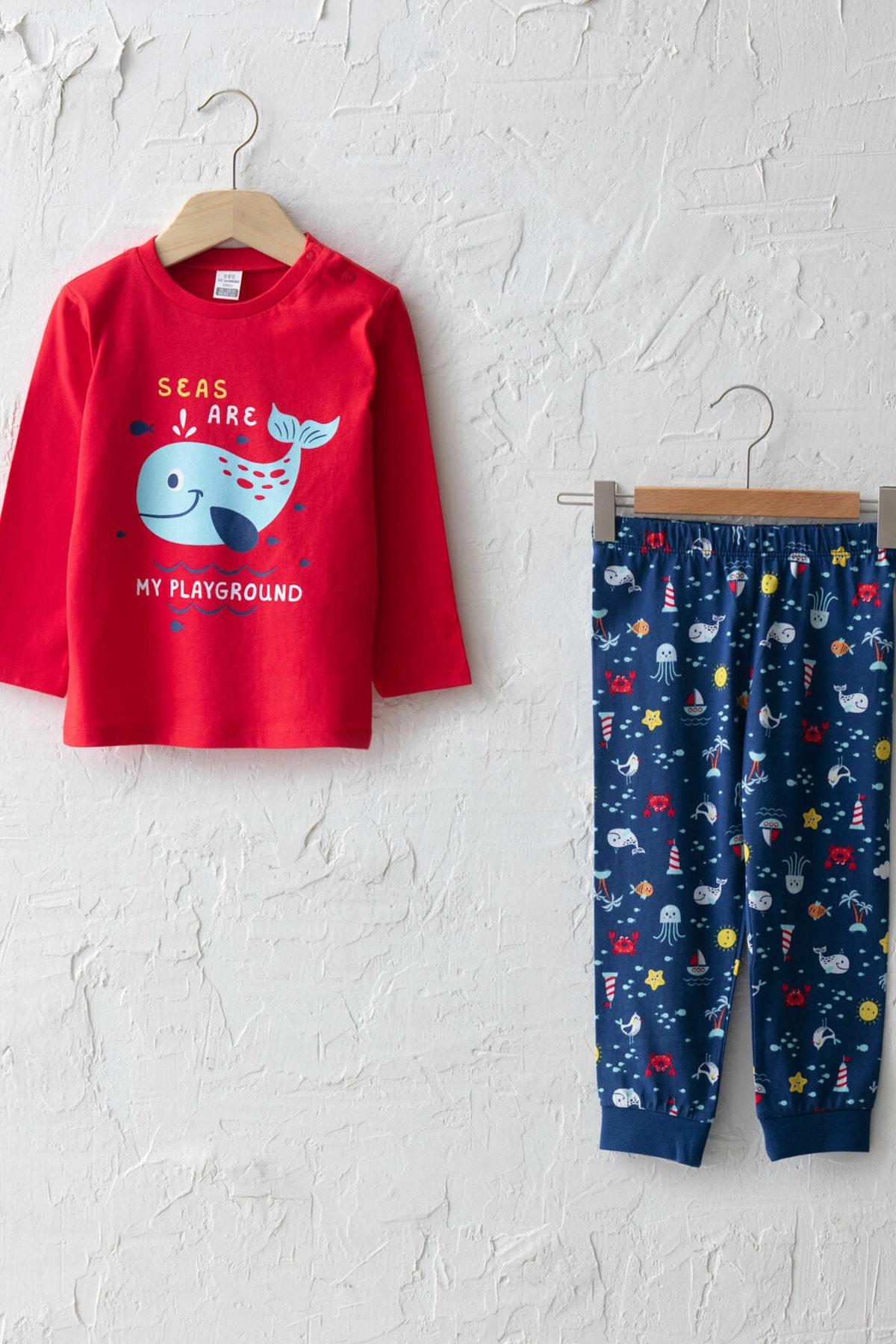 LC Waikiki Erkek Bebek Canlı Kırmızı Hnk Pijama Takımı 1