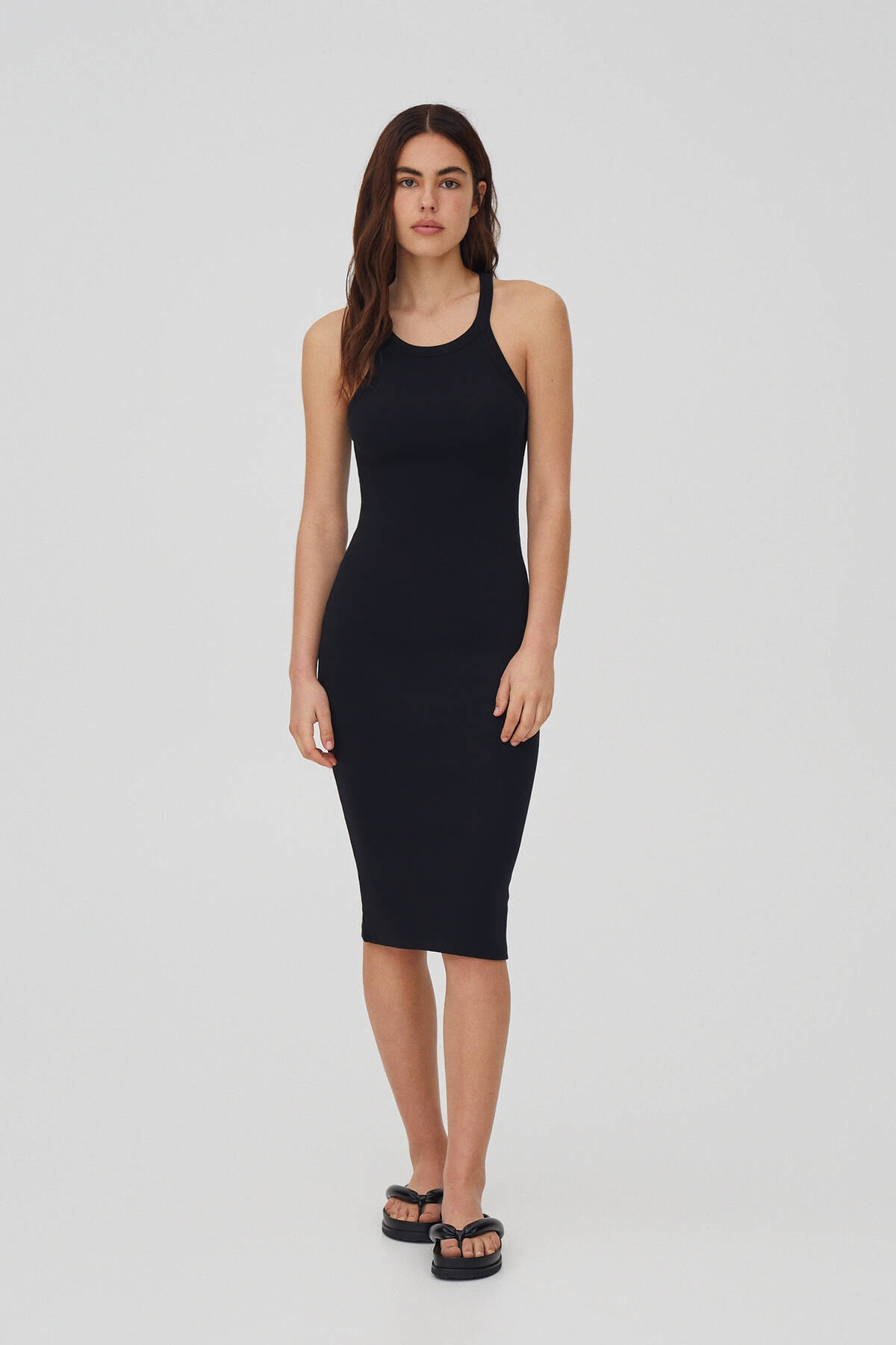 Pull & Bear Kadın Siyah Fitilli Basic Halter Yaka Elbise