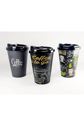 HOBBY LİFE 3'lü Plastik Kapaklı Kahve Bardağı (450ml)