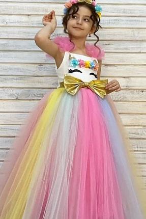 Pumpido Kız Çocuk Renkli Taçlı Fiyonklu Unicorn Elbise