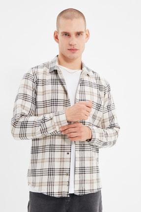 TRENDYOL MAN Bej Erkek Regular Fit Gömlek Yaka Oduncu Ekose Gömlek TMNAW22GO0215