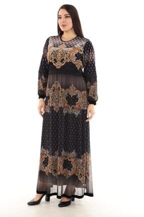 BELFAM ANTONELLA Baskılı Uzun Büyük Bedenkadife/tül (ithal/janjan) Elbise