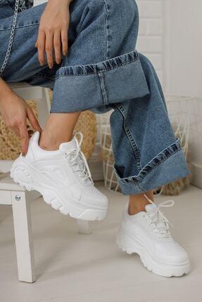 Hugan Kadın Beyaz Spor Ayakkabı Yüksek Taban 6 cm