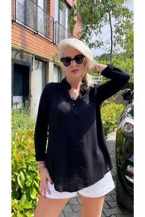 The Woman Kadın Siyah Basic Uzun Kol Dokuma Viskon Kumaş Gömlek