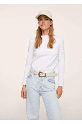 MANGO Woman Kadın Beyaz Uzun Kollu Pamuklu Tişört