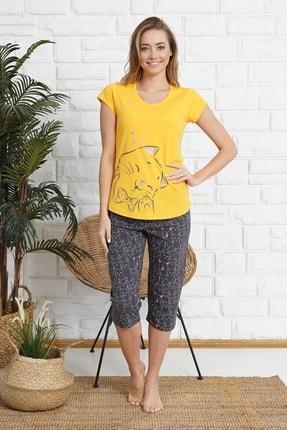 Kompedan Kadın Kapri Sarı Pijama Takımı