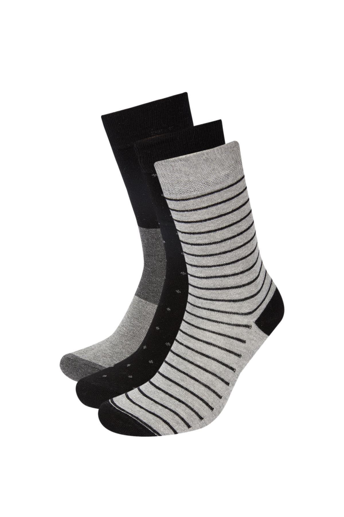 DeFacto Erkek Pamuklu 3'lü Soket Çorap