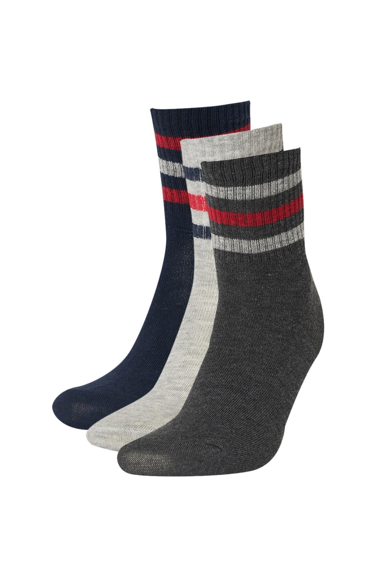 DeFacto Erkek Gri Desenli 3'Lü Soket Tenis Çorabı R8062AZ21AUGR