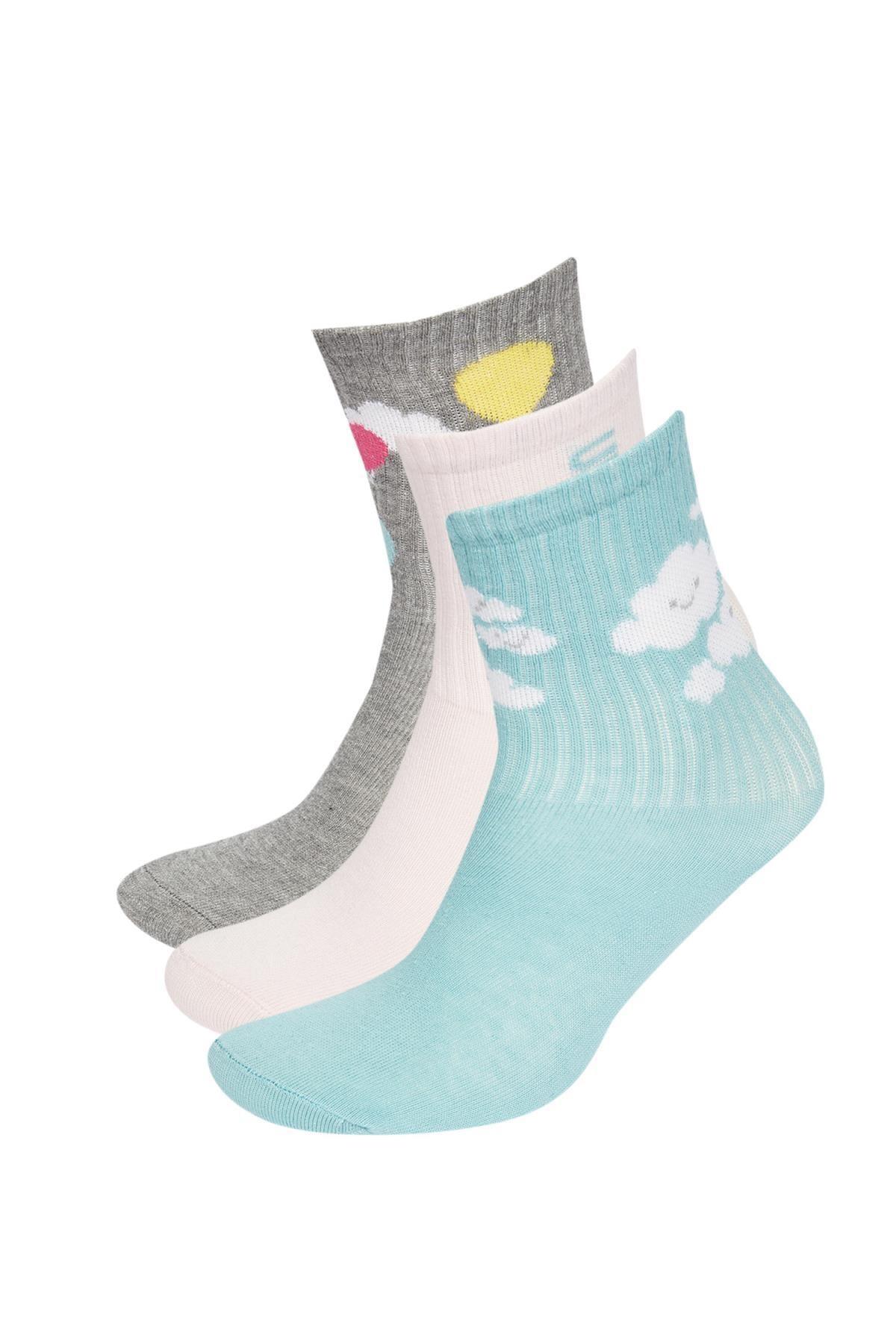 DeFacto Kız Çocuk Desenli 3'lü Soket Çorap