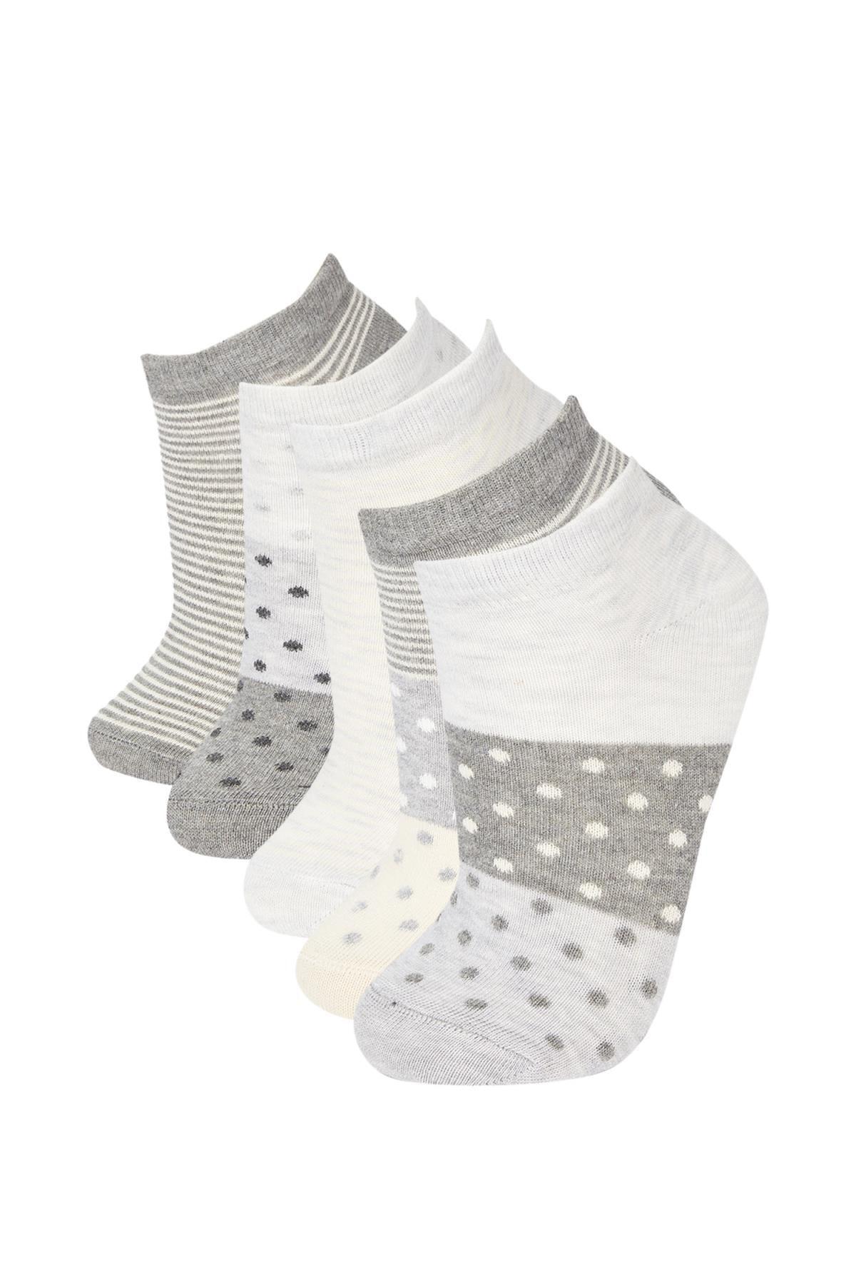 DeFacto Kadın Gri Desenli 5'Li Patik Çorap R8302AZ21AUGR