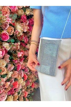 IGGI Kadın Gümüş Taş Görünümlü Telefon Çantası
