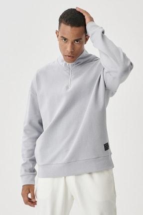 AC&Co / Altınyıldız Classics Erkek Gri Oversize Fit Günlük Rahat Bato Yaka Sweatshirt
