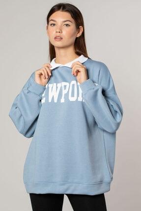 BARRELS AND OIL Barrelsandoıl Newport Baskılı Gömlek Yaka Sweatshirt-mavi