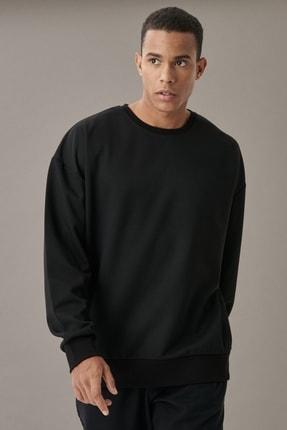 AC&Co / Altınyıldız Classics Erkek Siyah Günlük Rahat Sıfır Yaka Oversize Spor Sweatshirt