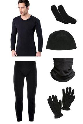 Asker Kolisi Erkek Siyah Termal Içlik Takımı Polar Bere Boyunluk Eldiven Havlu Çorap Seti - Asker Malzemeleri