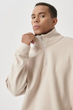 AC&Co / Altınyıldız Classics Erkek Bej Oversize Fit Günlük Rahat Bato Yaka Sweatshirt