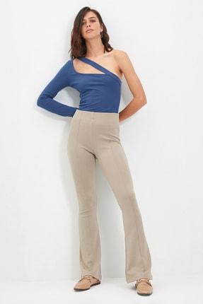 TRENDYOLMİLLA Vizon Flare Örme Pantolon TWOSS20PL0342